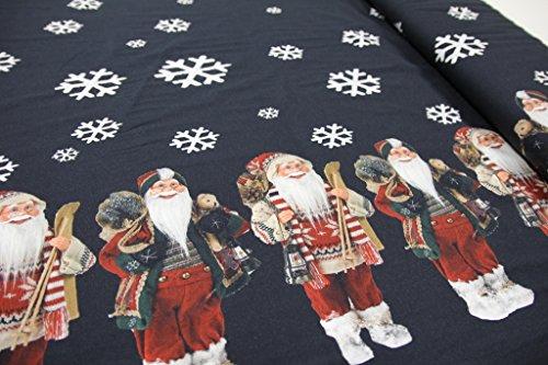 Stoff / Meterware / ab 25cm / beste Jersey-Qualität / Jersey Weihnachtsmann / Schneeflocken auf schwarz Bordüre