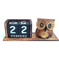 Bloque de Calendario perpetuo de madera diseño de búho (HC enterprise-355)