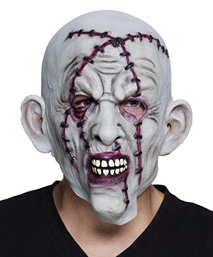 een Kostüm Accessoire Latexmaske Heftklammern Narben Gesicht , Grau (Halloween Verbrannten Gesichts-make-up)