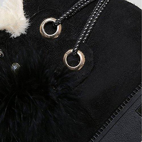 Hsxz Femmes Pu Cuir Suede Chaussures Automne Hiver Confort Bottes De Neige Talon Plat Ronde Mi-calf Toe Bottes Pour Casual Noir Camel Noir