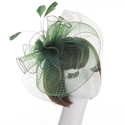 VRTUR Haar Clip Damen Haar Accessoire Tea Party Hochzeitskirche Kopfbedeckung für Frauen Karneval Valentinstag Geschenk(Einheitsgröße,X-Grün)