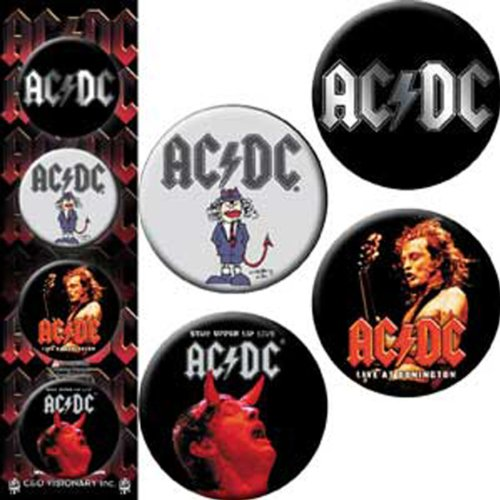 AC/DC 4 Pieces 4 Pieces Assorted gemischtLogo Button Taste Set Button Taste Set, Officially Licensed Products Classic Rock Assorted gemischtArtwork, Button Taste Set - 1.25