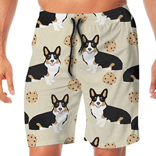 Nicegift Tricolored Corgi Dog Dogs and Cookies Neutral Surfing Pocket Elastic Waist Men's Beach Pants Shorts Beach Shorts Swim Trunks Small (Classic Golf Knit)