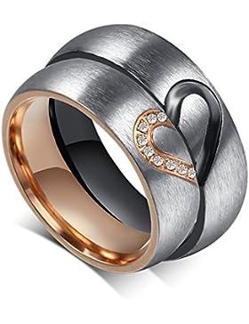 JewellryUS Schmuck Edelstahl Diamant Hälfte Herz Ehering Verlobungsringe für Damen & Herren