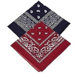 Set of 2 Paisley Bandanas - Navy Blue and Maroon Bandannas scarf / Hankerchief / Head tie / Neck Tie / Neckerchief 100% Cotton , For Men, Women & Kids, High quality (Pack of 2)