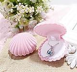 Kingken - Caja de regalo con forma de concha de mar para joyería, color rosa