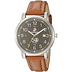 USMC Wrist Armor Men's 'Franklin Mint' Swiss Quartz Stainless Steel and Leather Casual Watch, Color:Brown (Model: 37FM0100201A)