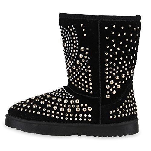 Stiefelparadies Damen Schuhe Schlupfstiefel Boots Warm Gefüttert Flandell Schwarz Nieten
