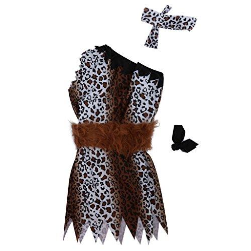 Steinzeithöhle Mann Kostüm Leopard Wilde Tunika Abendkleid Ausstattungs ()
