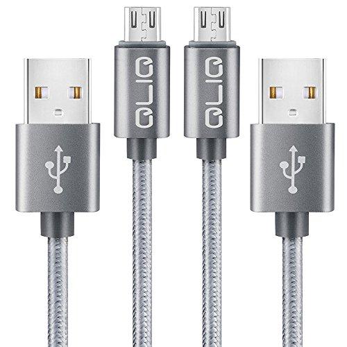Micro-USB Kabel, Nylon Ladekabel, 1m, 2-Pack Micro USB Lade- und Datenkabel für Samsung S7 / S7 Ege / S6 / S6 Edge, Huawei, Nexus, HTC, Sony, PS4 Controller, Kindle und viele weitere Geräte, grau