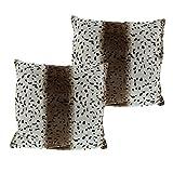 Gözze Kissenhülle, 2er Pack, Polyester, Schneeleopard, 25 x 25 x 5 cm, 2-Einheiten