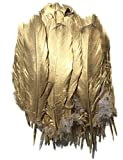 ERGEOB 50 stück DIY Hochzeit Federn basteln Federn Gans Federn großen Zierfedern 15-20cm EIN Seite Gold