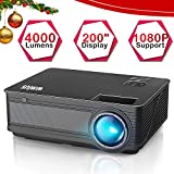 "Videoproiettore,WiMiUS 4000 Lumen LED Proiettore Full HD Supporto 1080P Con 200"" Display Home..."