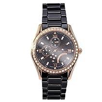 Stella Maris luxuriöse Diamant  Armbanduhr mit Premium Keramik,  Quarz mit Analog Anzeige, Swarovski Elemente, STM15M6