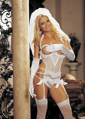 Kostüm Hollywood Shirley - Shirley of Hollywood One Size Weiß Naughty Schleife Rückseite Braut Teddy Set - 3-teilig