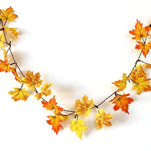 YUNLIGHTS Herbstgirlande mit 40 Lichtern Herbst Blättergirlande 4.5M, Batteriebetriebene, perfekte...