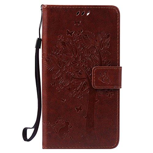 Guran® PU Leder Tasche Etui für Wiko Pulp Fab 4G LTE (5,5 Zoll) Smartphone Flip Cover Stand Hülle und Karte Slot Case-Hellbraun