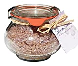 Lashuma Badesalze Wellness Badesalz Totes Meer Schokolade im Glas, Badezusatz im Weck Schmuckglas 250 g