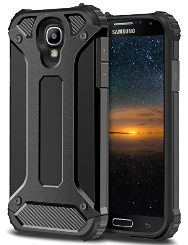 Samsung Galaxy S4 Hülle, Coolden® Outdoor Case Doppelte Schutz Silikon TPU + PC Bumper Anti-dust Militärstandard Schutzhülle für Samsung Galaxy S4 Handyhülle Samsung Galaxy s4 Case Cover (Schwarz)
