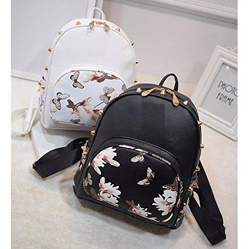 Mefly 2017 Moda Donna Zaini in pelle stampa floreale piccolo zaino borsa scuola per ragazze adolescenti Travel zaino,Bianco White