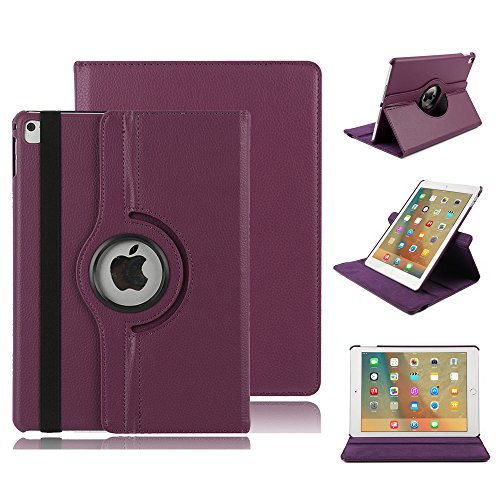 7.9\'\' Hülle für iPad mini 3, elecfan® 360 Grad rotierend Kunstleder Schutzhülle Tasche Etui Smart Cover mit Auto Schlaf / Wach, Standfunktion, für iPad mini 3 / iPad mini 2 / iPad mini 1 (iPad Mini 1/2/3, Lila)
