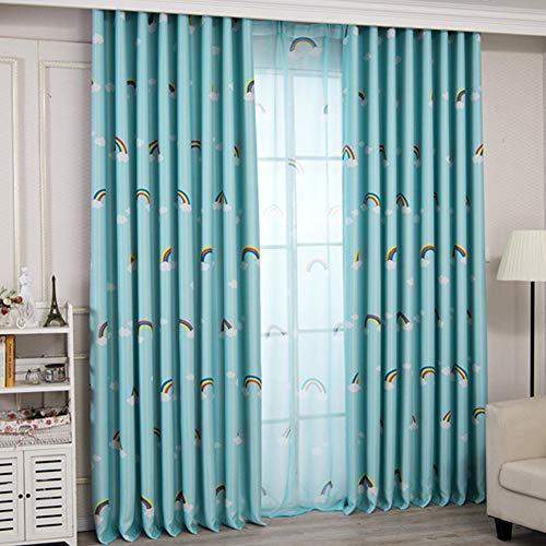 Yk curtain adatto per soggiorno camera da letto cucina per bambini opaca termiche isolanti per tende arcobaleno stampato occhielli 2pcs,bluea,132 * 185cm