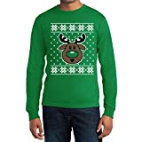 Hässlicher Weihnachtspullover Rudolph Rudolf Rentier Langarm T-Shirt Large Grün