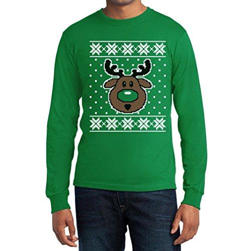 Shirtgeil Hässlicher Weihnachtspullover Rudolph Rudolf Rentier Langarm T-Shirt Grün