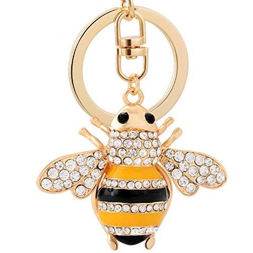 Bee Pattern Keychain Keyring Lovely Handbag Pendant Fashion Gift Cute Car Key Ring For Women Lady Girls Phone Bag Ornaments Decoration Golden