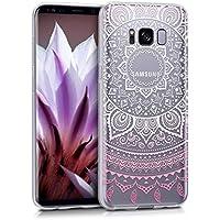 kwmobile Hülle für Samsung Galaxy S8 - TPU Silikon Backcover Case Handy Schutzhülle - Cover klar Indische Sonne Design Rosa Weiß Transparent