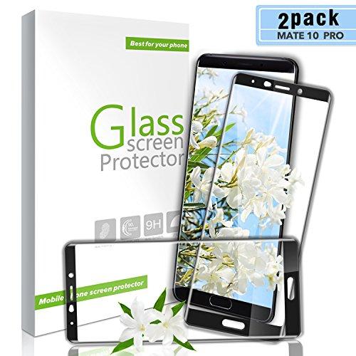 Aonsen Huawei Mate 10 Pro Panzerglas Schutzfolie, [2 Stück] Full Coverage HD Ultra Klar Abdeckung Gehärtetem Glas, 3D Touch Kompatibel, Anti-Kratzer, 9H Härte, Anti-Fingerabdruck, Blasenfreie - (Schwar)