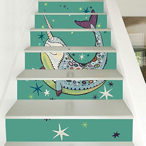 Escaleras autoadhesivas wallpaper estilo nórdico mar profundo narwhal decoración del hogar 3D desmontable pasos de bricolaje pegatinas moderno HD escaleras impermeables wallpaper comprar tres y llévat