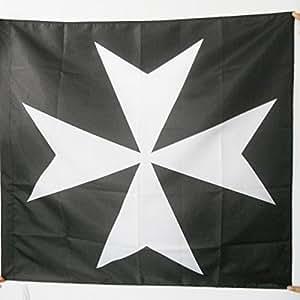 DRAPEAU ORDRE DES CHEVALIERS DE L'HOPITAL DE SAINT JEAN DE JÉRUSALEM 90x90cm - DRAPEAU CATHOLIQUE 90 x 90 cm Fourreau pour hampe - AZ FLAG
