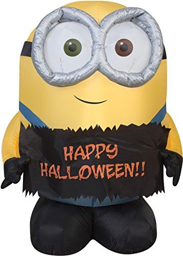 Gemmy Funkelndes Airblown aufblasbare Bob der Minion Halten Happy Halloween-Schild-Indoor Outdoor Urlaub Dekoration, 3-Fuß Hoch