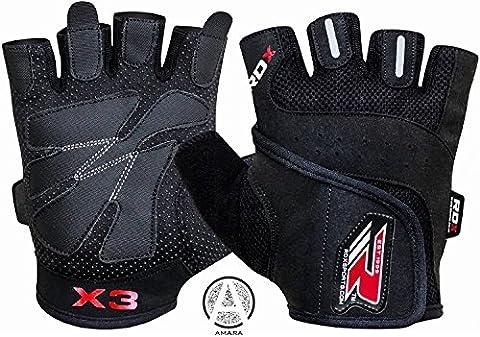 RDX Men's Wga-S2B-M Weight Lifting Gym Gloves Cross Training, Black,
