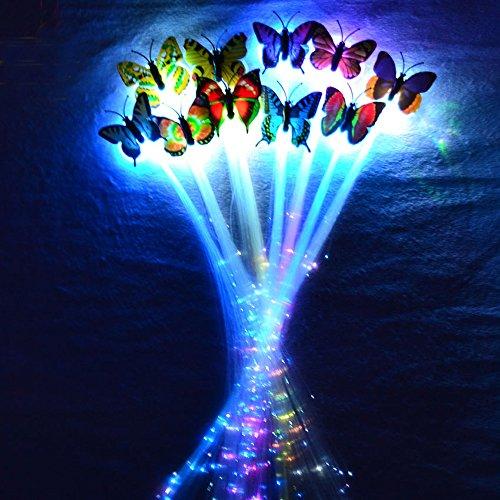 ling Led Haar Zöpfe 10er Set- Très Chic Mailanda LED Haarsträhnen Glühwürmchen Rainbow Fasching Party ()