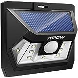 Mpow 10 LED Luz Sensor Lampara Led Foco Solar Impermeable de 204lm con Sensor de Movimiento para Patio Exterior, Pared, Jardín, Porche, Garaje, Terraza Iluminación Exteriores
