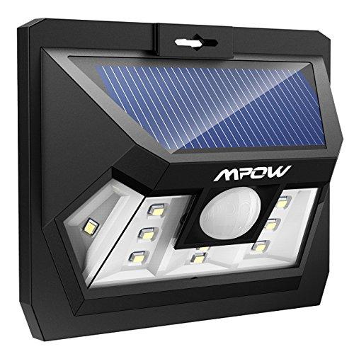Mpow 10 LED Luz Solar, Lámpara Led,Foco Solar Impermeable con Sensor de Movimiento para Patio Exterior, Pared, Jardín, Porche, Garaje, Terraza Iluminación Exteriores