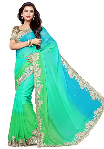 Alveera Indian Beauty Collection Latest Design Chiffon Saree With Blouse - Rama...