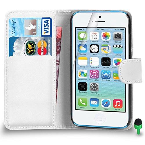 POUR Apple iPhone 5C - SHUKAN® Prime Cuir NOIR Portefeuille Cas Coque Couverture VERT Cap Protecteur d'écran & Tissu de polissage BLANC