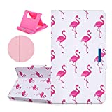 Universal 8 Zoll Kunstleder Tablette Hülle ,Katech Flip Kartenfächer - Standfunktion Magnetverschluss Wallet Handy Tasche Case Bumper Cover für für Samsung Galaxy Tab S2 8.0 T719 / Tab S 8.4 T700/ Amazon Fire HD 8/ Huawei Mediapad M3 /Lenovo Tab 4 8.0 /iPad mini,Tier Flamingos + 1x Handy Halterung Ständer