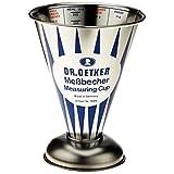 Dr. Oetker Messbecher Nostalgie, Messkanne aus Weißblech, trichterförmiger Messbecher mit vielfältiger Skalierung (Maße: Ø11x14,5 cm), Menge: 1 Stück