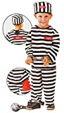 3 tlg. Kostüm Sträfling - 6 bis 9 Jahre - Gr. 116 - 140 - Karneval / Strafgefangener / Häftling - Hose + Shirt + Mütze - für Kinder Kind Kinderkostüm Fasching + Halloween - Mädchen Jungen - Gefängnis