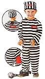 Unbekannt 3 tlg. Kostüm Sträfling - 6 bis 9 Jahre - Gr. 116 - 140 - Karneval / Strafgefangener / Häftling - Hose + Shirt + Mütze - für Kinder Kind Kinderkostüm Fasching..