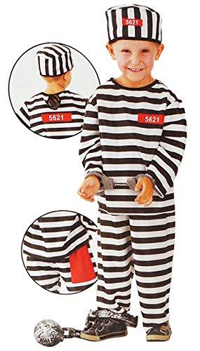 Shirt Kostüm Häftling - Unbekannt 3 TLG. Kostüm Sträfling - 6 bis 9 Jahre - Gr. 116 - 140 - Karneval / Strafgefangener / Häftling - Hose + Shirt + Mütze - für Kinder Kind Kinderkostüm Fasching..