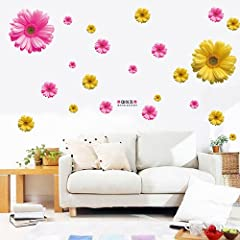 Idea Regalo - XMJR Wall decoration 3D stereoscopico margherite sunshine parete camera da letto soggiorno divano TV parete calda sfondo daisy-wall sticker, giallo margherite.