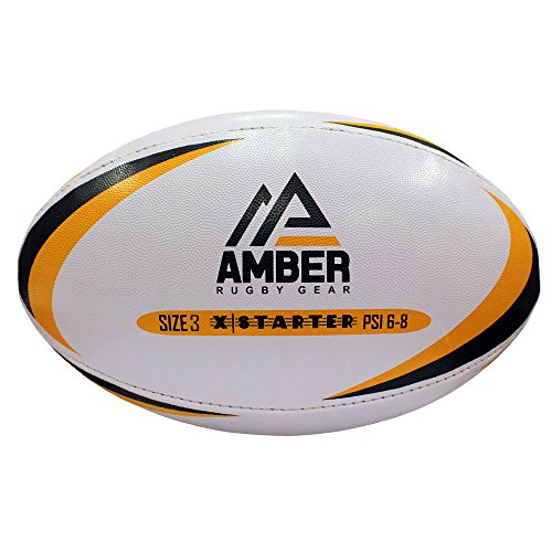 Ámbar x-starter pelota de rugby, color blanco, tamaño 3