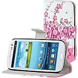 Samsung Galaxy S3 i9300 Buchdesigner Tasche mit trendigen Style Pink Cheery Flower Cover Leder Tasche Flip Case Schutz Hülle Handy Seiten Tasche im Neuem Desgin