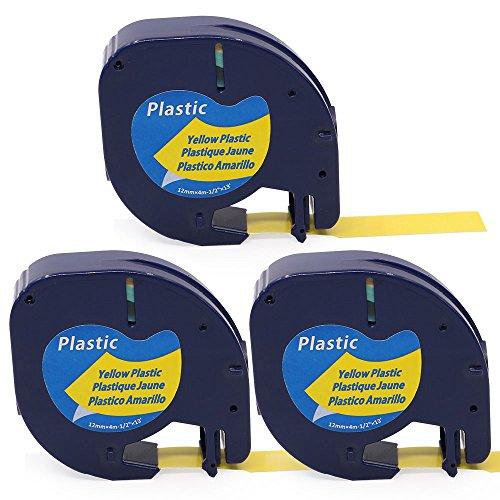3x Schriftbandkassette Kompatibel für Dymo LetraTag 91222 Schwarz auf Gelb 12mm x 4m Kunststoff geeignet für Dymo LT-100H LT-100T XM 2000 Dymo LetraTag QX50 XR