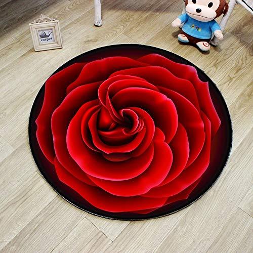 JIELUG Hohe Qualität 3D Rote Rose Runde Teppich Durchmesser 60/80/100/120 / 160 cm Polyester Wohnzimmer Teppich Stuhl Teppich Badezimmer Matte Dekoration, 120 cm - Polyester Runden Stuhl